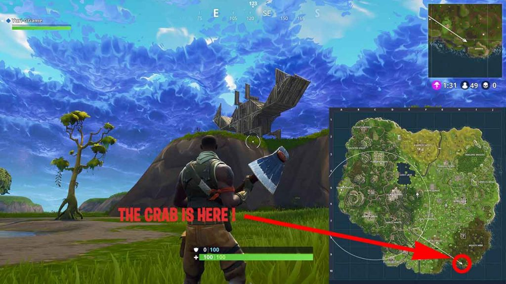 locate-the-crab-in-fortnite-batle-royale