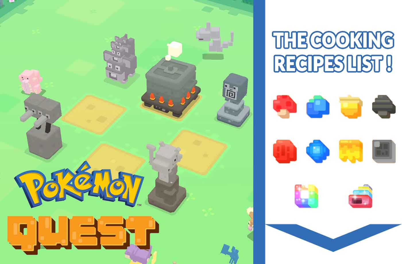 The list of all pokemon quest recipes for the cooking for Kochen pokemon quest
