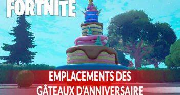 Guide Fortnite ou se trouvent les 10 gâteaux d'anniversaire devant lesquels il faut danser