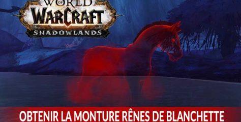 Guide complet World of Warcraft Shadowlands pour obtenir la monture secrète Rênes de Blanchette