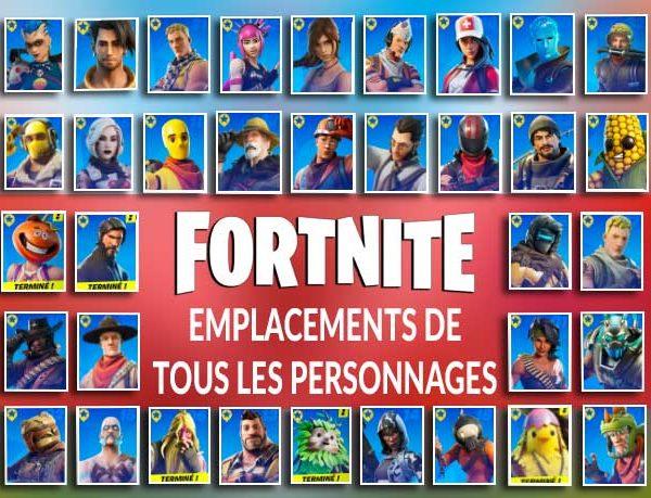 Guide Fortnite liste et collection complète de tous les personnages à trouver sur la carte (saison 6 instinct primitif)