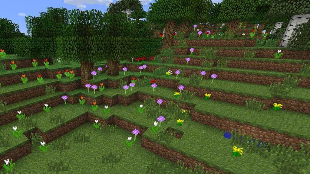 biome-foret-de-fleurs-minecraft-nid-d-abeilles